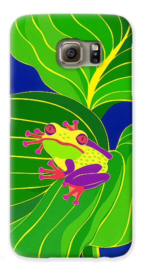 Nature Galaxy S6 Case featuring the drawing Frog On Leaf by Lucyna A M Green