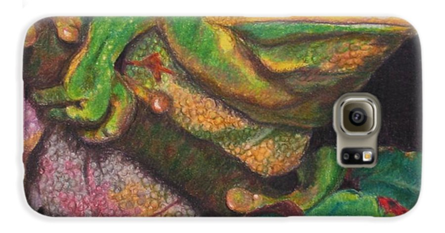 Frog Galaxy S6 Case featuring the painting Froggie by Karen Ilari