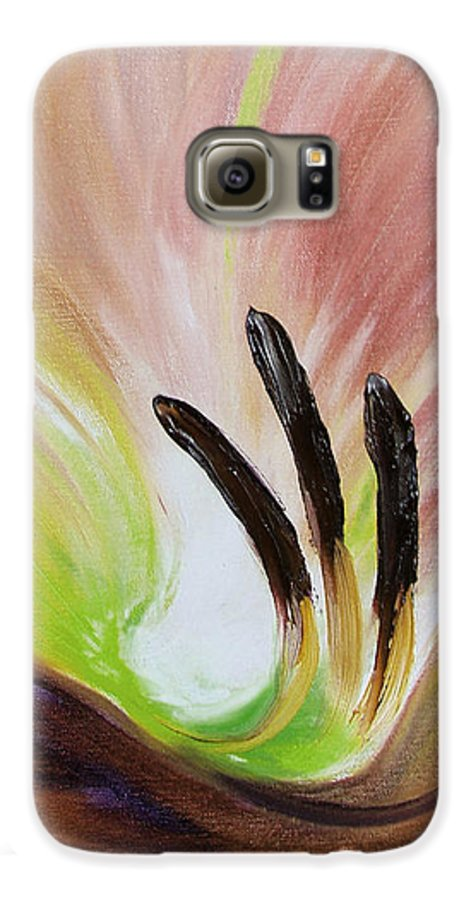 Brown Galaxy S6 Case featuring the painting From The Heart Of A Flower Brown 3 by Gina De Gorna