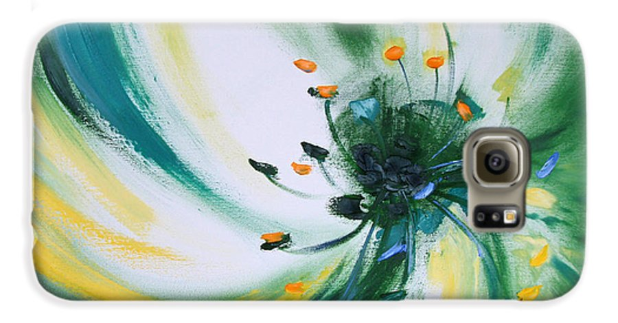 Green Galaxy S6 Case featuring the painting From The Heart Of A Flower Green by Gina De Gorna