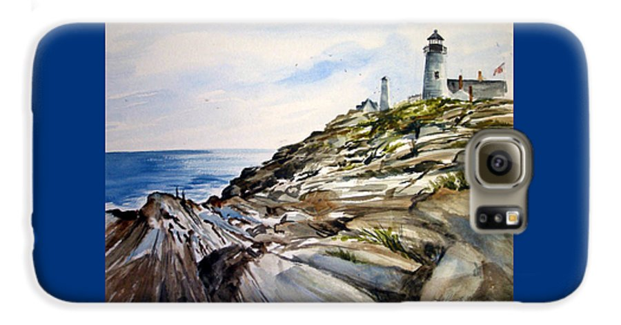 Pemaquid Light House;rocks;ocean;maine;pemaquid;light;lighthouse; Galaxy S6 Case featuring the painting From The Rocks Below by Lois Mountz