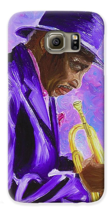 Street Musician Trumpet Player Galaxy S6 Case featuring the painting From The Soul by Michael Lee