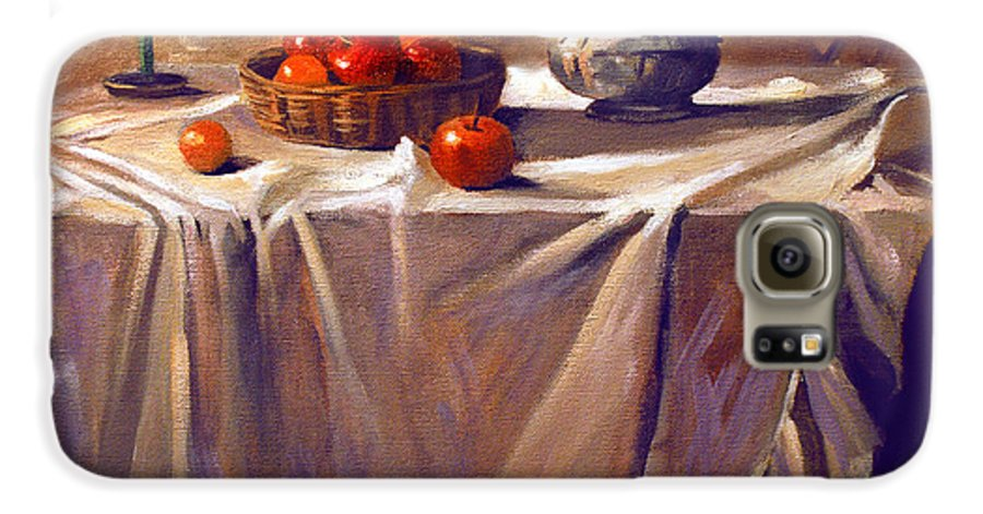 Still Life Galaxy S6 Case featuring the painting Fruit By Candle Light by Nancy Griswold