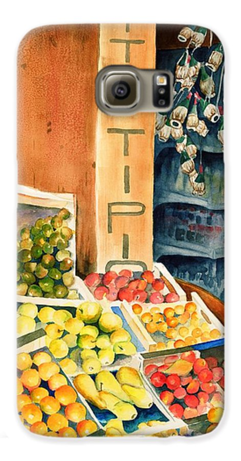 Fruit Shop Window Galaxy S6 Case featuring the painting Fruit Shop In San Gimignano by Judy Swerlick