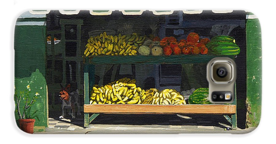 Market In Puerto Vallarta Mexico. Dog Added. Galaxy S6 Case featuring the painting Frutas Y by Michael Ward