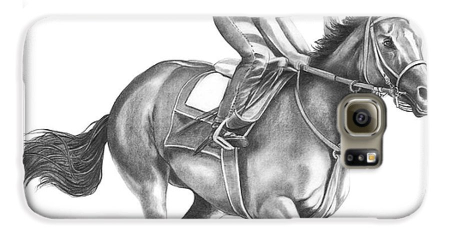 Horse Galaxy S6 Case featuring the drawing Full Gallop by Murphy Elliott