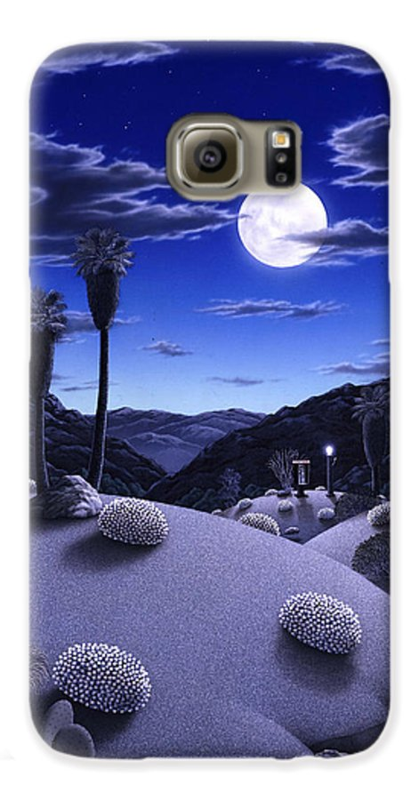 Desert Galaxy S6 Case featuring the painting Full Moon Rising by Snake Jagger