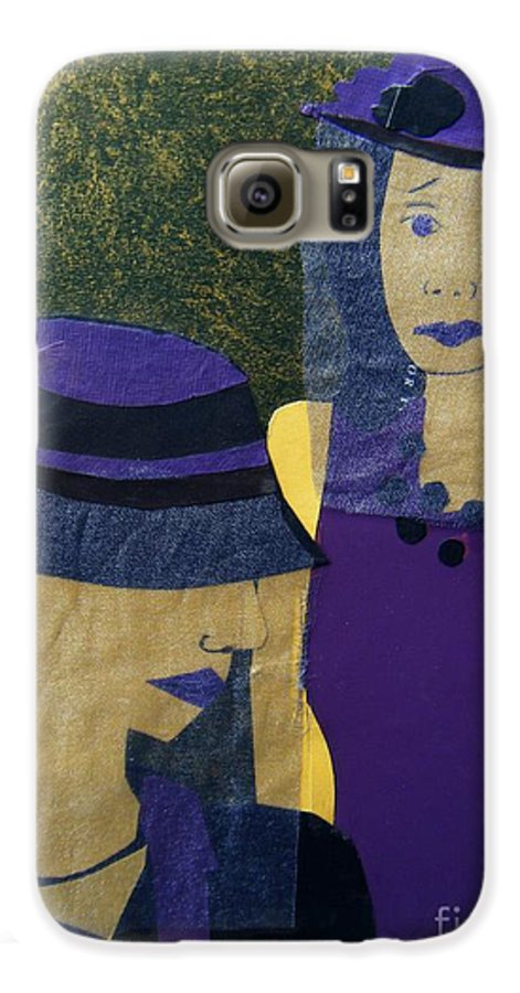 Purple Galaxy S6 Case featuring the mixed media Funeral Masks by Debra Bretton Robinson