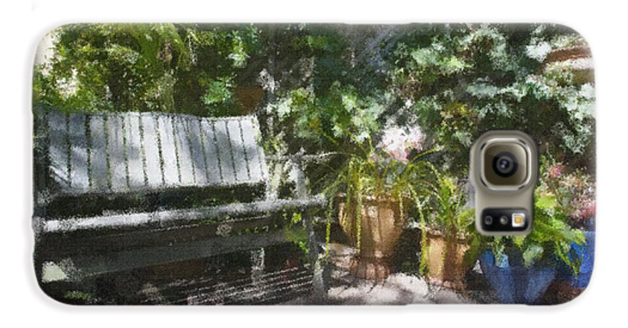 Garden Bench Flowers Impressionism Galaxy S6 Case featuring the photograph Garden Bench by Sheila Smart Fine Art Photography