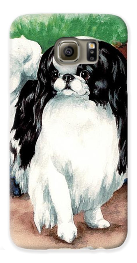 Japanese Chin Galaxy S6 Case featuring the painting Garden Chin by Kathleen Sepulveda