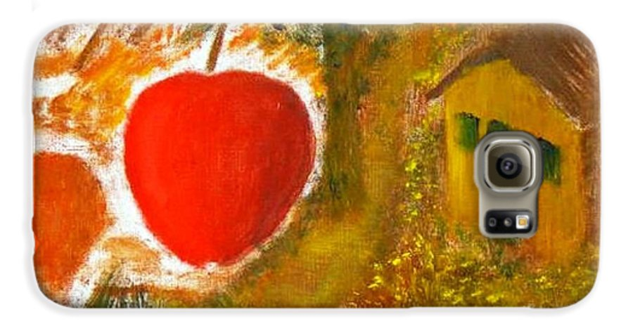 Abstract Apple Adam Ave Galaxy S6 Case featuring the painting Garden Of Eden by R B
