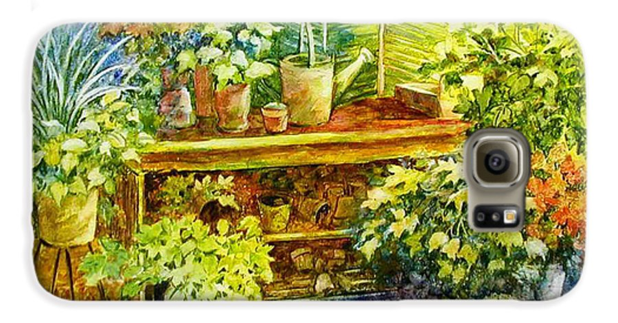 Greenhouse;plants;flowers;gardener;workbench;sprinkling Can;contemporary Galaxy S6 Case featuring the painting Gardener's Joy by Lois Mountz