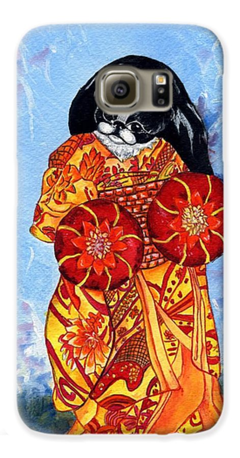 Japanese Chin Galaxy S6 Case featuring the painting Geisha Chin by Kathleen Sepulveda