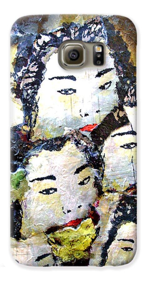Geisha Girls Galaxy S6 Case featuring the mixed media Geisha Girls by Shelley Jones