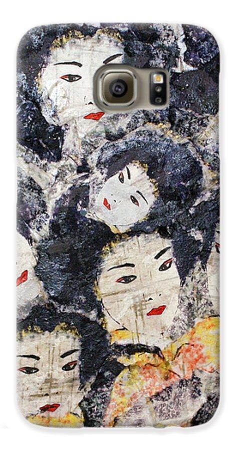 Geisha Galaxy S6 Case featuring the mixed media Geisha by Shelley Jones