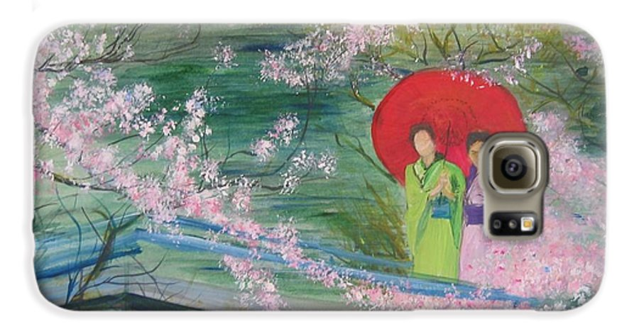 Landscape Galaxy S6 Case featuring the painting Geishas And Cherry Blossom by Lizzy Forrester