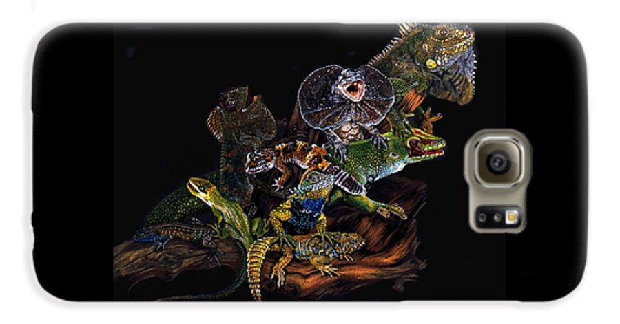 Lizards Galaxy S6 Case featuring the drawing Gems And Jewels by Barbara Keith