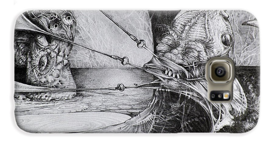 Surrealism Galaxy S6 Case featuring the drawing General Peckerwood In Purgatory by Otto Rapp