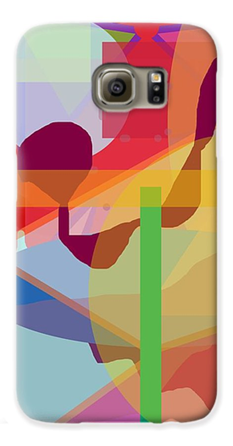 Abstract Galaxy S6 Case featuring the painting Geo Frenzy by Pharris Art