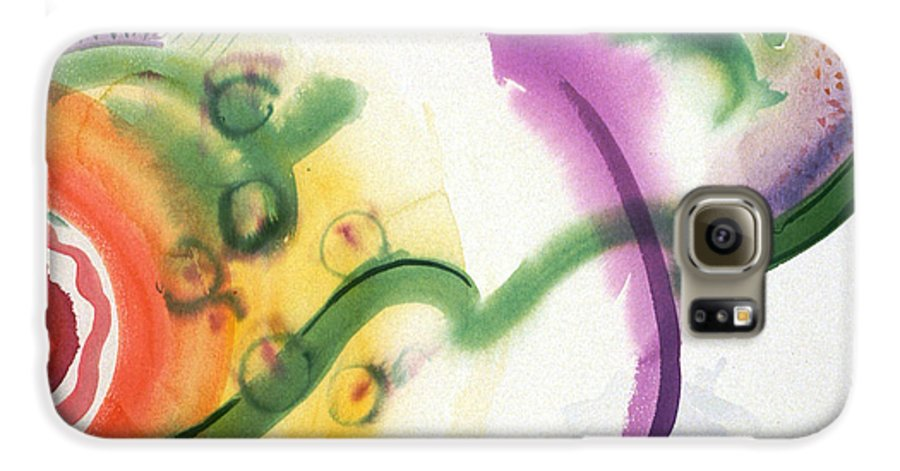 Abstract Galaxy S6 Case featuring the painting Geomantic Blossom Ripening by Eileen Hale