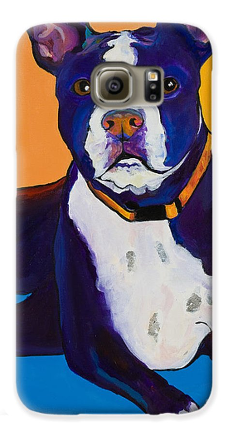 Boston Terrier Galaxy S6 Case featuring the painting Georgie by Pat Saunders-White