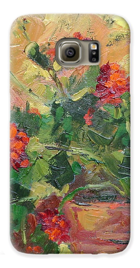 Geraniums Galaxy S6 Case featuring the painting Geraniums II by Ginger Concepcion