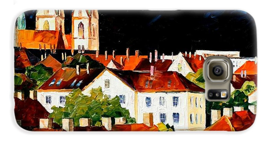 City Galaxy S6 Case featuring the painting Germany - Freiburg by Leonid Afremov