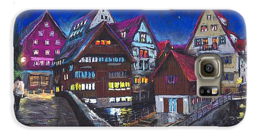 Pastel Galaxy S6 Case featuring the painting Germany Ulm Fischer Viertel by Yuriy Shevchuk