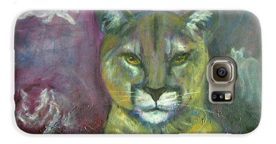 Wildlife Galaxy S6 Case featuring the painting Ghost Cat by Darla Joy Johnson