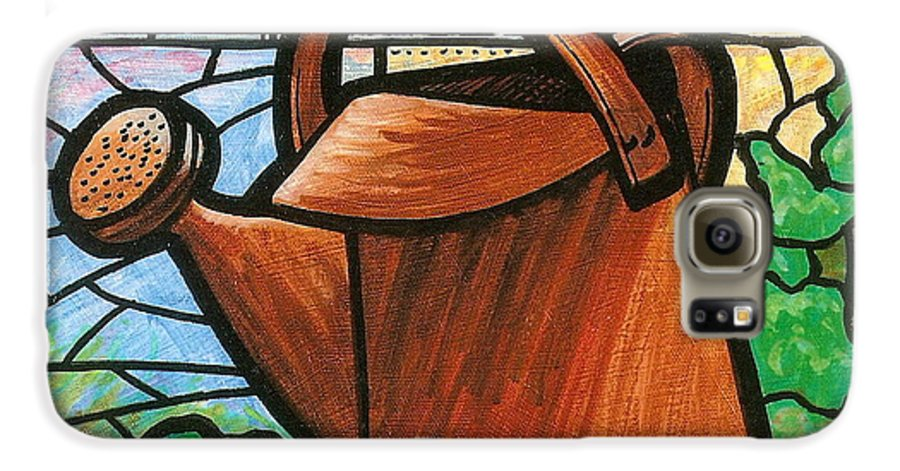 Gardening Galaxy S6 Case featuring the painting Giant Watering Can Staunton Landmark by Jim Harris