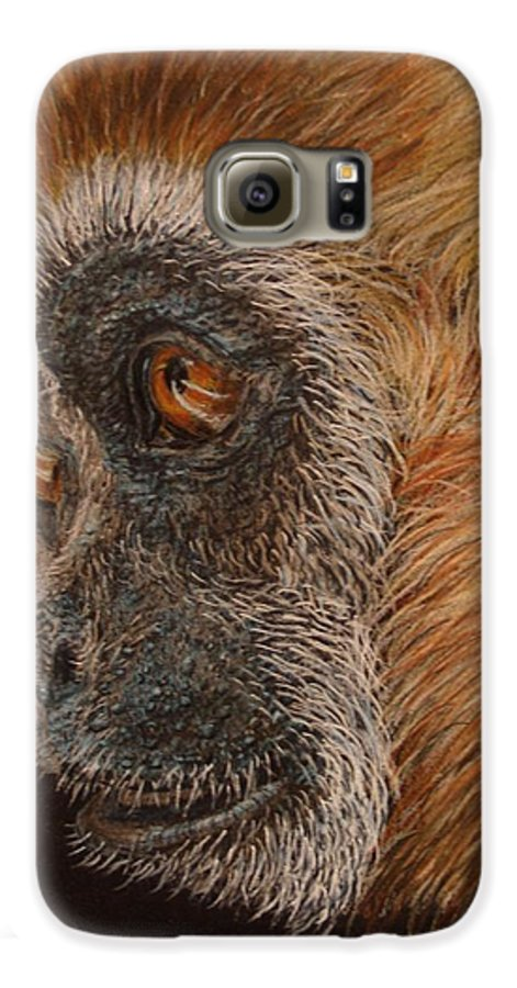 Animals Galaxy S6 Case featuring the drawing Gibbon by Karen Ilari