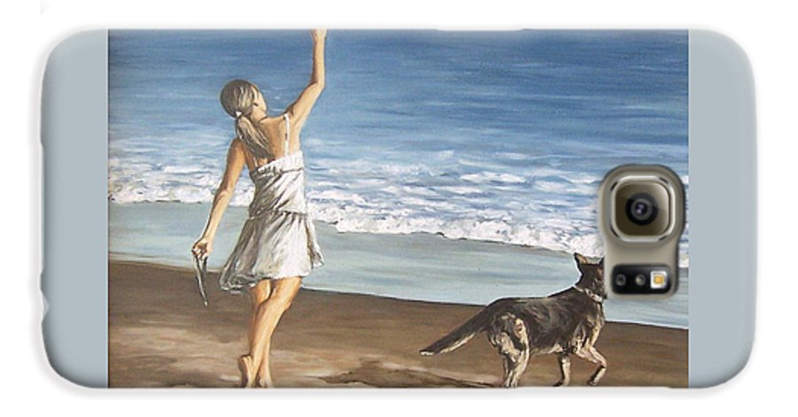 Portrait Girl Beach Dog Seascape Sea Children Figure Figurative Galaxy S6 Case featuring the painting Girl And Dog by Natalia Tejera