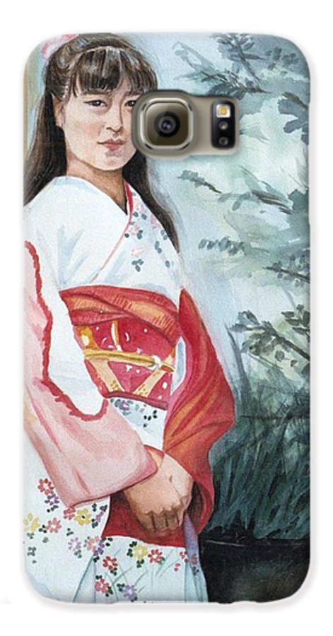 Japanese Girl In Kimono Galaxy S6 Case featuring the painting Girl In Kimono by Judy Swerlick
