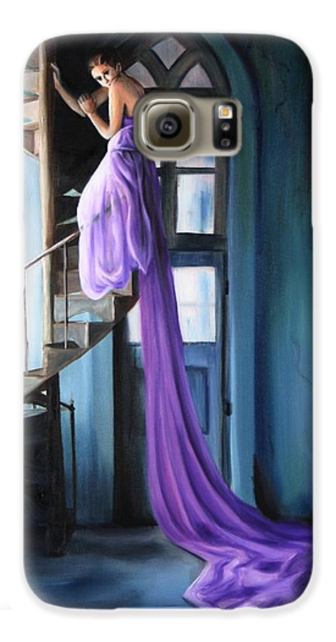 Girl Galaxy S6 Case featuring the painting Girl On Staircase by Maryn Crawford