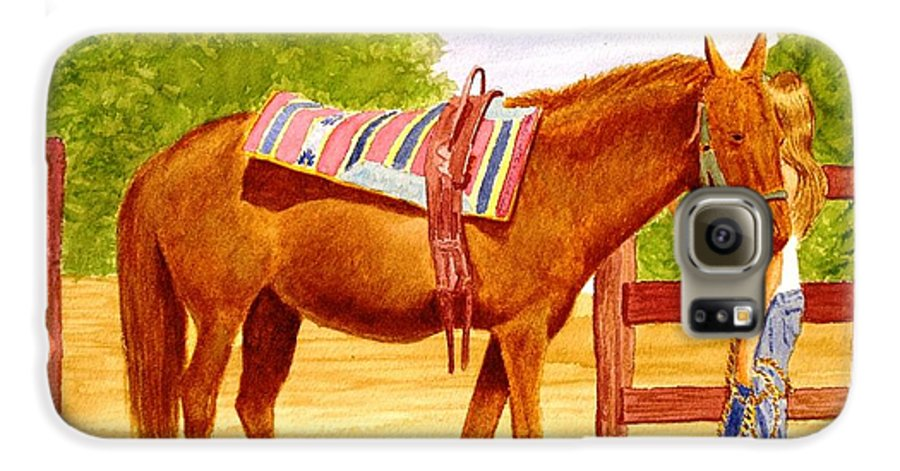 Equine Galaxy S6 Case featuring the painting Girl Talk by Stacy C Bottoms