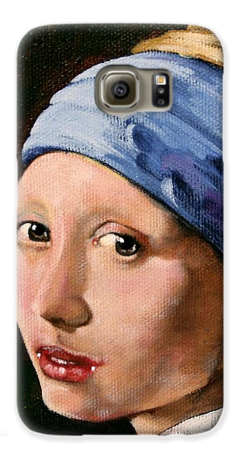 Portrait Galaxy S6 Case featuring the painting Girl With A Pearl Earring A Reproduction Of Vermeer by Joan Garcia