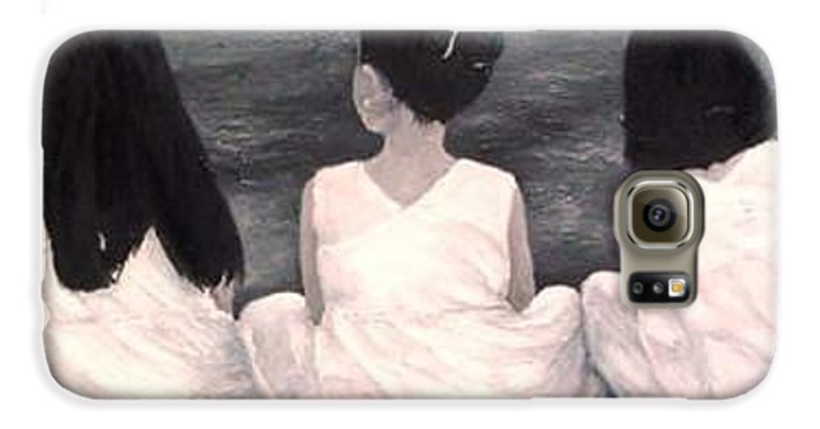 Girls Galaxy S6 Case featuring the painting Girls In White At The Beach by Patricia Awapara