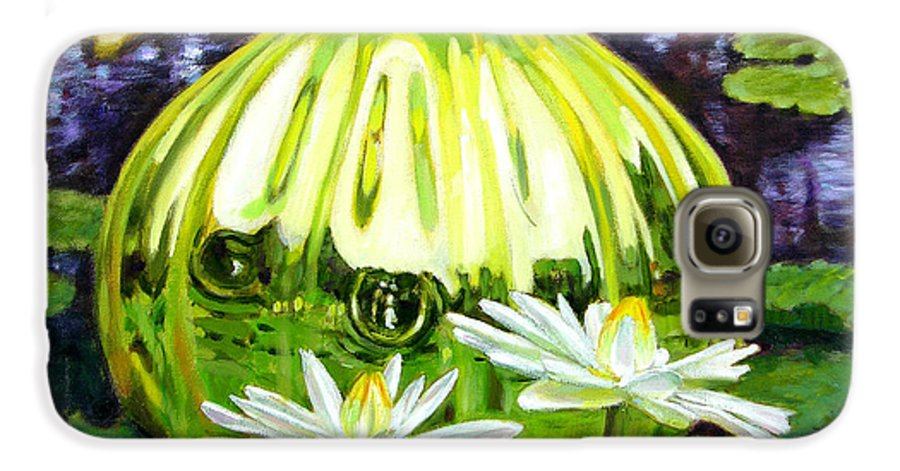Water Lilies Galaxy S6 Case featuring the painting Glass Among The Lilies by John Lautermilch