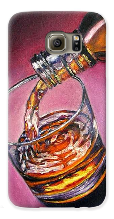 Glass Of Wine Galaxy S6 Case featuring the painting Glass Of Wine Original Oil Painting by Natalja Picugina