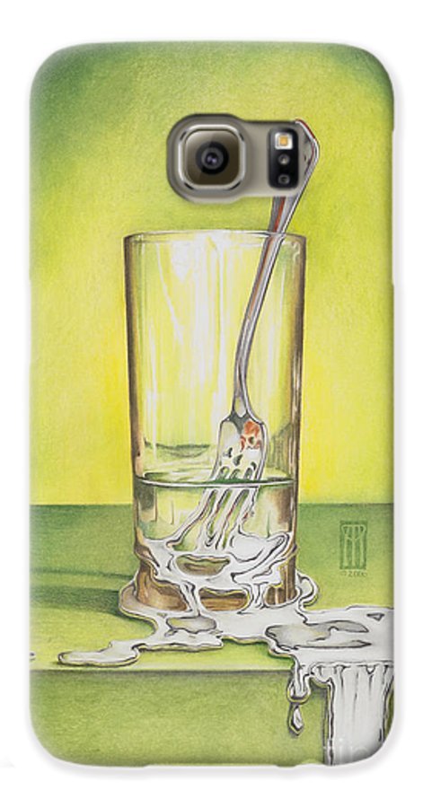 Bizarre Galaxy S6 Case featuring the painting Glass With Melting Fork by Melissa A Benson