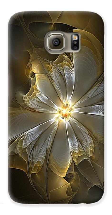 Digital Art Galaxy S6 Case featuring the digital art Glowing In Silver And Gold by Amanda Moore