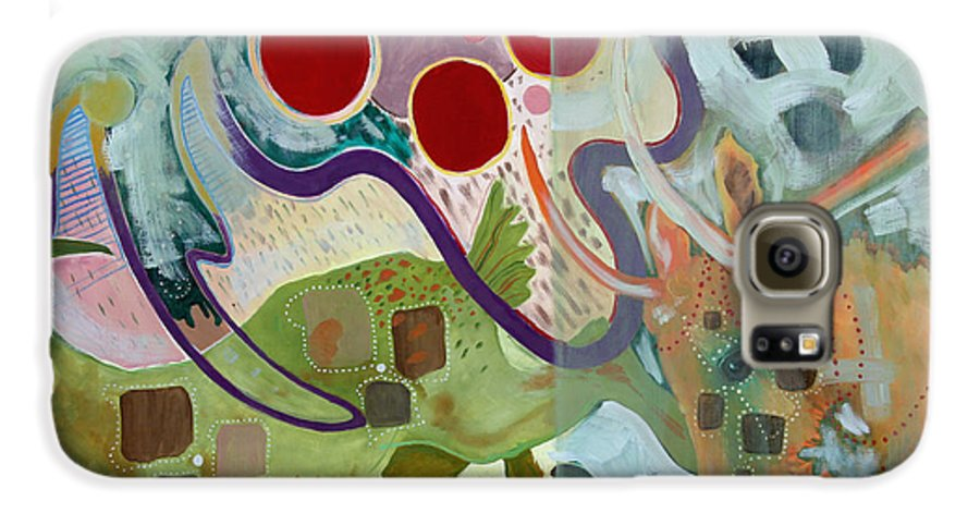 Abstract Expressionist Dream-surreal Galaxy S6 Case featuring the painting Goat Squad by Eileen Hale