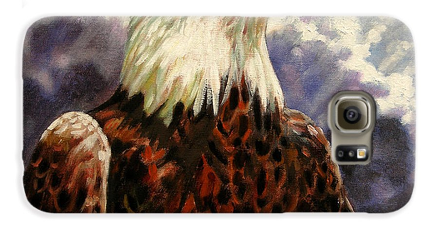 American Bald Eagle Galaxy S6 Case featuring the painting God Bless America by John Lautermilch