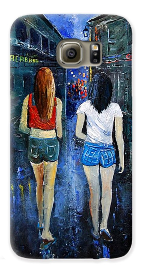 Girl Galaxy S6 Case featuring the painting Going Out Tonight by Pol Ledent