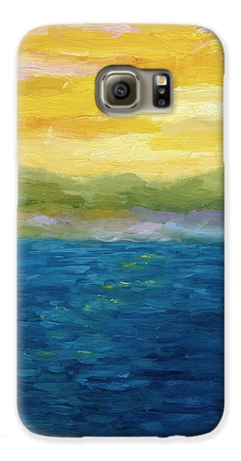 Lake Galaxy S6 Case featuring the painting Gold And Pink Sunset by Michelle Calkins