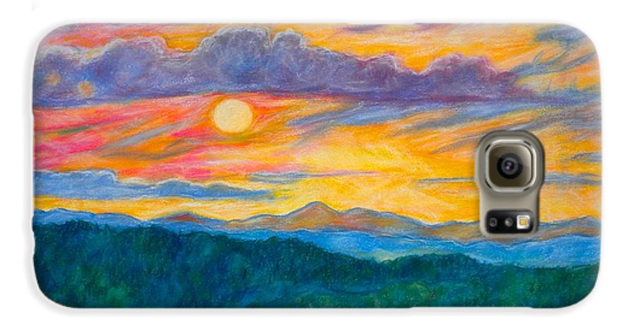 Landscape Galaxy S6 Case featuring the painting Golden Blue Ridge Sunset by Kendall Kessler