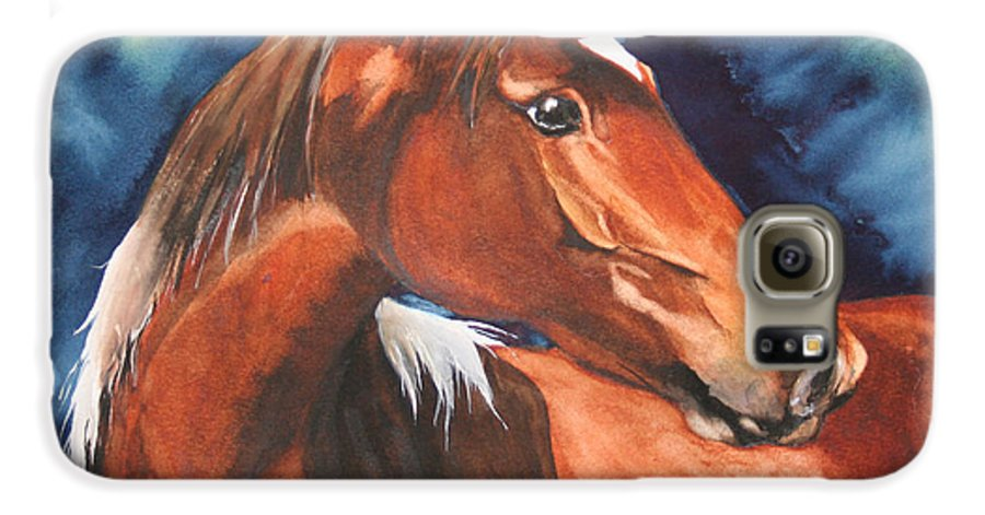 Horse Galaxy S6 Case featuring the painting Golden Boy by Jean Blackmer