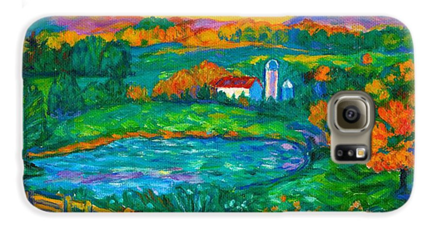 Landscape Galaxy S6 Case featuring the painting Golden Farm Scene Sketch by Kendall Kessler