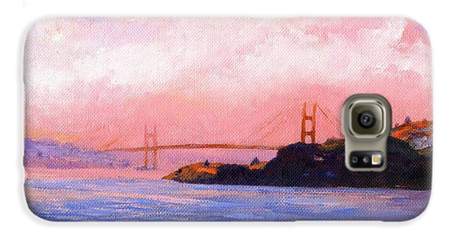 Landscape Galaxy S6 Case featuring the painting Golden Gate Bridge by Frank Wilson