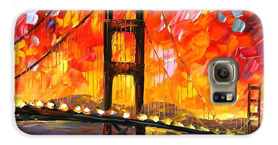 City Galaxy S6 Case featuring the painting Golden Gate Bridge by Leonid Afremov